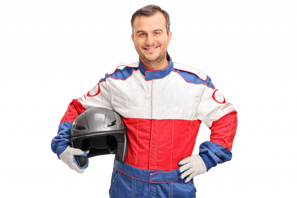 a person wearing a motor suit